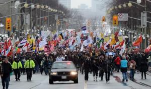 Marche de protestation des Premières Nations sur Wellington Street à Ottawa le 11 janvier 2013. (Photo : Sean Kilpatrick)