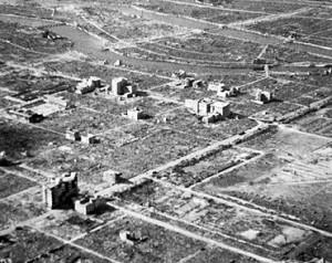 Novembre 1945, vue aérienne du coeur de la ville d'Hiroshima. (Photo: auteur inconnu)