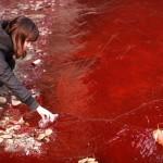 Déversement illégal de teinture dans les eaux de Jian River en Chine, 2011. (Photo: STR)