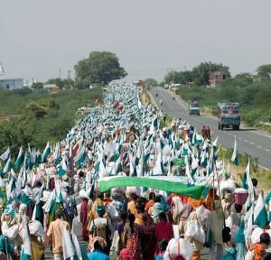 Janadesh 2007, en marche vers Delhi, Inde. (Photo: Ekta Parishad)