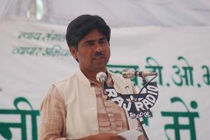 Rajagopal durant une manifestation d'agriculteurs, Bhopal, Inde, novembre 2005. (Photo: Ekta Parishad)