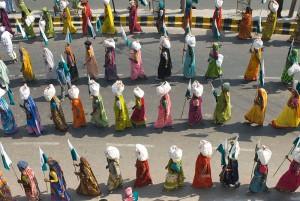 Femmes en marche vers Delhi, Janadesh 2007, Inde. (Photo: Ekta Parishad)