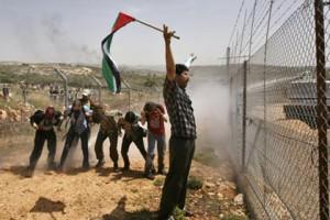 Manifestation hebdomadaire à Bil'in, 29 mai 2009. (Photo: inconnu)