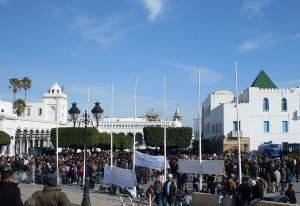 La « caravane de la libération » devant le siège du gouvernement, le 23 janvier 2011. (Photo: CC)