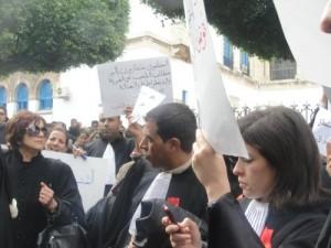 Les avocats manifestent à Tunis, 28 décembre 2010. (Photo: inconnu)