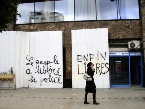 Slogans politiques sur les murs de Tunis, janvier 2011. (Photo: CC)