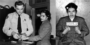 Rosa Parks est devenue célèbre parce que le 1er décembre 1955, à Montgomery (Alabama), elle refusa de céder sa place à un passager blanc dans un bus. Martin Luther King, avec le concours de Ralph Abernathy, lança alors une campagne de protestation et de boycott contre la compagnie de bus qui dura 381 jours. Le 13 novembre 1956, la Cour suprême cassa les lois ségrégationnistes dans les bus. (Photo: domaine public)