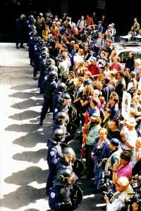Opération SalAMI, mai 1997, Montréal. (Photo: Franc-Sois Dandurand)