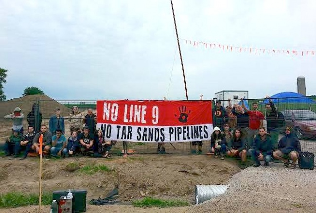 Occupation du site de construction de la ligne 9 d'Enbridge en Ontario, le 4 août 2014. (Photo: inconnu)