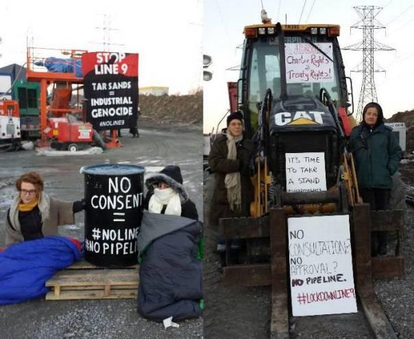 Occupation de la ligne 9 d'Enbridge au nord de Toronto: cinq activistes se sont attachés aux équipements. (Photo: inconnu)