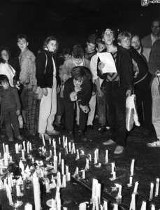 EAST GERMANY: LEIPZIG, 1989.  Demonstration in Leipzig, against the East German government, 23 October 1989. Full credit: Lammel - ullstein bild / The Granger Collection.