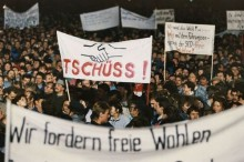 "IN THE FALL OF 1989 LEIPZIG, AS WELL AS DRESDEN, MAGDEBURG, AND BERLIN, SAW PEACEFUL PROTESTS AGAINST THE SOCIALISM IN EAST GERMANY. DEMONSTRATORS CHANTED ""WE ARE THE PEOPLE!"""