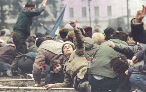 Revolutionaries on the streets during the Romanian Revolution of 1989.