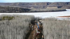 Transcanada: Franchissement de cours d'eau par forage directionnel horizontal. (Photo: www.oleoducenergieest.com)